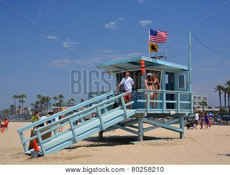 Babe Watch At The Life Guard Hut At Venice Beach