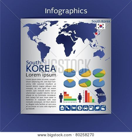 Infographics Map Of South Korea Show Population And Consumption Statistic Information.