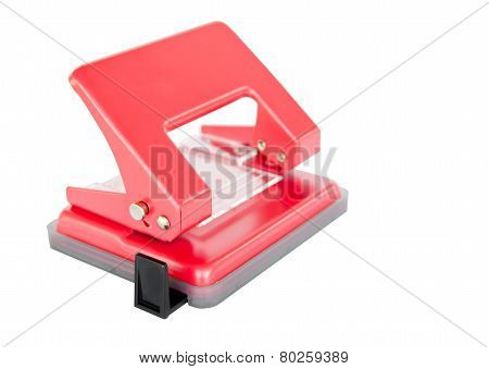 Office Paper Hole Puncher On White Background
