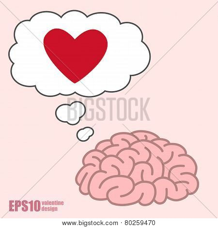 Brain Think Of Red Heart