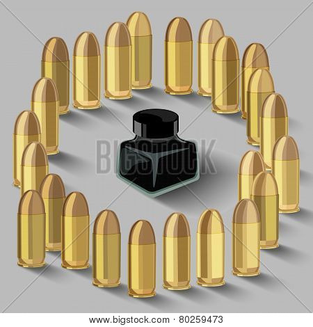 Ink Bottle Surrounded By Bullets