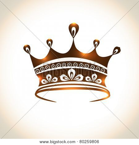 Floral design decorated beautiful crown on shiny background.