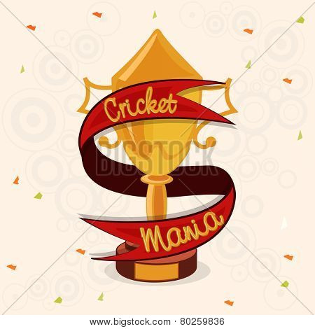 Golden winning trophy covered by red Cricket Mania ribbon for Cricket Sports concept.