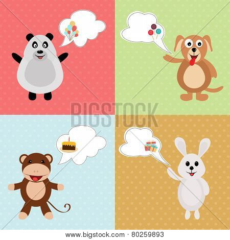 Set of four birthday cartoon character of animals on colorful background.