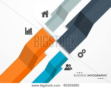 Web infographic layout with different features for business purpose on grey background