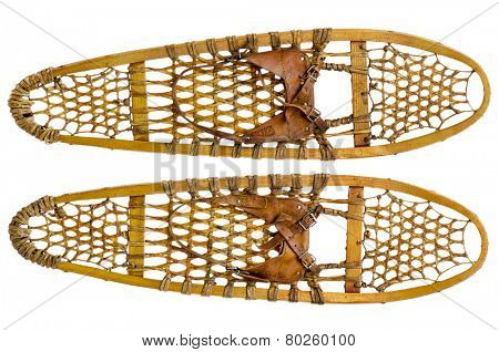 a pair of vintage wooden Bear Paw snowshoes with leather binding isolated on white