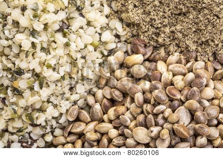 hemp seed, hearts and protein powder background