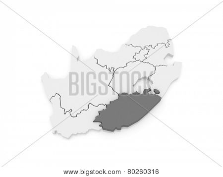 Map of Eastern Cape (Bisho). South Africa. 3d
