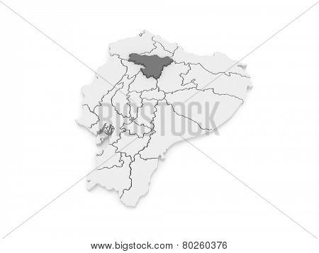 Map of Pichincha. Ecuador. 3d