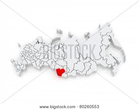 Map of the Russian Federation. Altai Krai. 3d