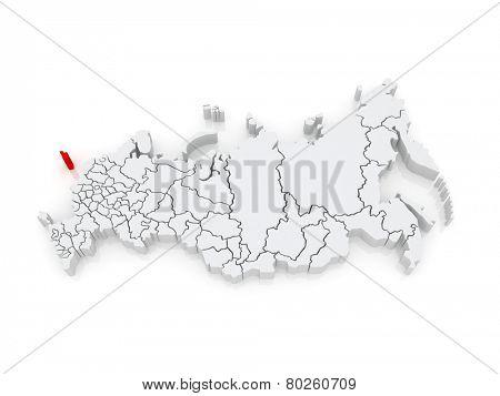Map of the Russian Federation. Kaliningrad region. 3d