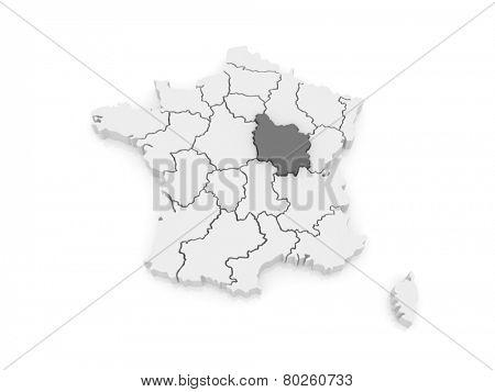 Map of Burgundy. France. 3d