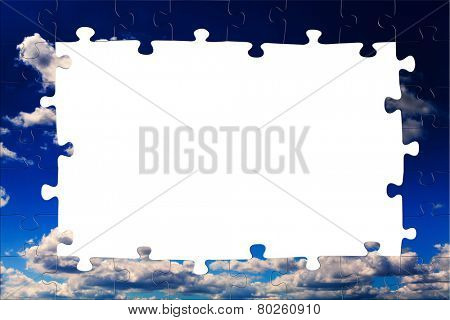 Blue sky and white clouds. Puzzle background