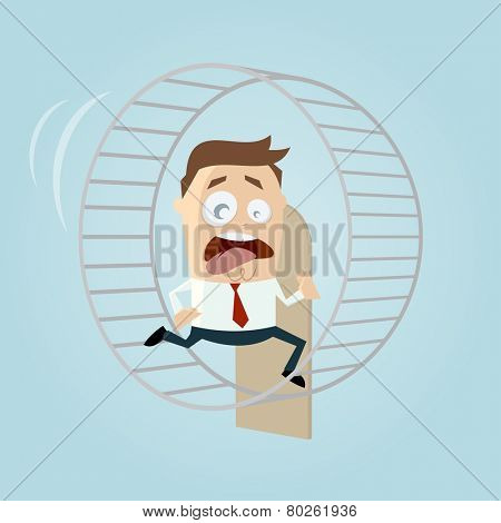 running businessman is running in hamster wheel