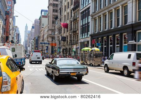 Soho street traffic in Manhattan New York City NYC USA