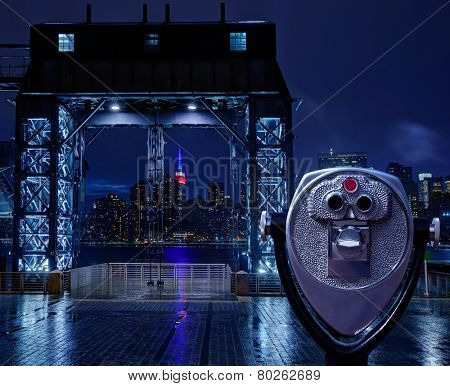Manhattan New York skyline rainy night East River floodgates and telescope photomount