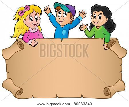 Blank parchment with happy kids - eps10 vector illustration.