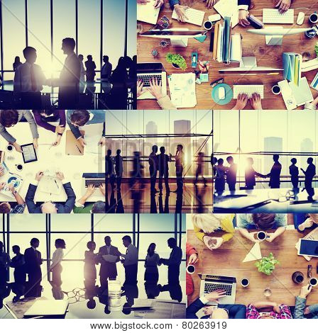 Business People Colleagues Interaction Communication Office Collage Concept