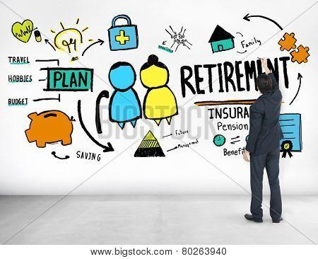 Businessman Retirement Qualification Occupation Ideas Writing Concept
