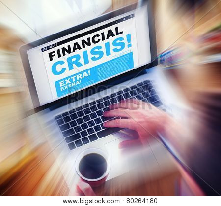 Digital Online News Headline Financial Crisis Concept