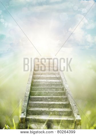 Stairway leading up to bright light