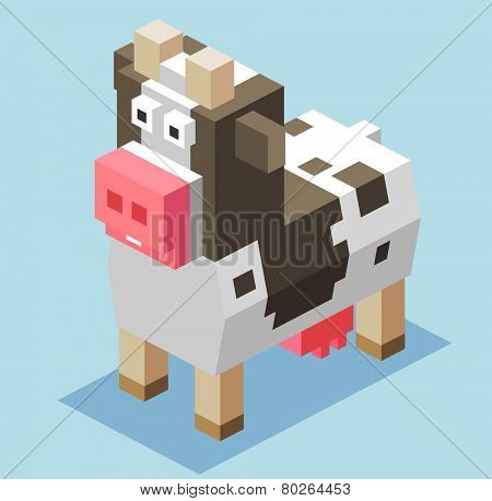 cattle for milk. 3d pixelate isometric vector