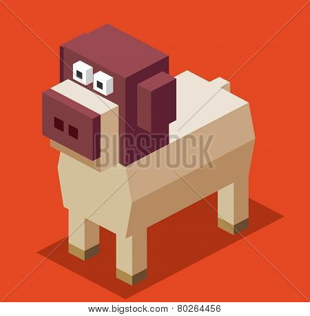 3d pixelate dog. isometric vector