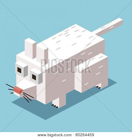 white mice. 3d pixelate isometric vector