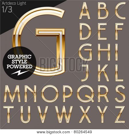 Illustration of golden alphabet. Art deco light. File contains graphic styles available in Illustrator. Set 1