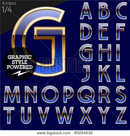 Illustration of golden alphabet. Art deco. File contains graphic styles available in Illustrator. Set 1