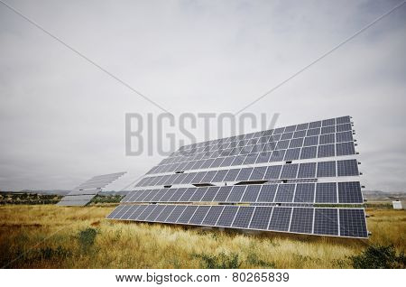 huge photovoltaic panel with blue sky, Zaragoza province, Aragon, Spain
