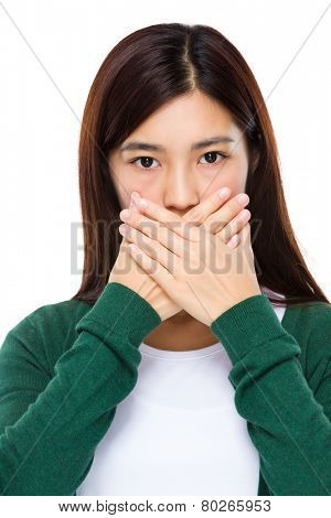 Woman with hand cover her mouth