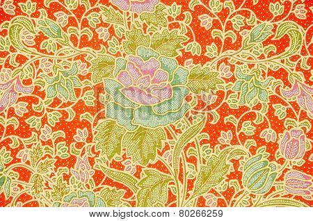 Batik Sarong Pattern Background In Thailand.