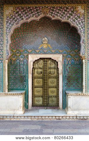 Jaipur, india - December 29, 2014: Rose Gate At The Chandra Mahal, Jaipur City Palace