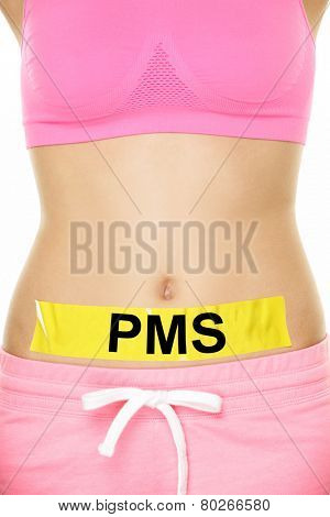 PMS Premenstrual Syndrome Concept - Bare Woman Stomach with Yellow Tape Emphasizing PMS Texts. Captured on White Background.