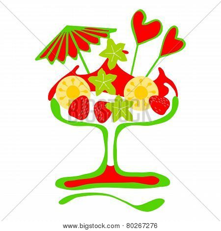 Sundae white and red isolated on white background