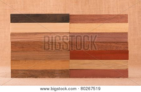 Different species of wood in small blocks for woodworking