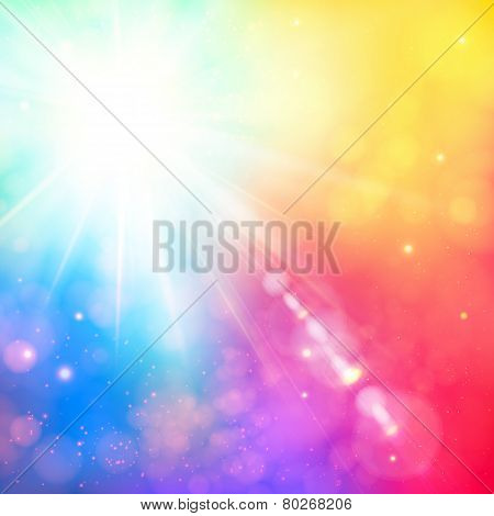 Bright shining sun with lens flare. Soft background with bokeh e