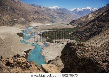 Shyok river in Nubra valley Ladakh ,Jammu & Kashmir, India - September 2014