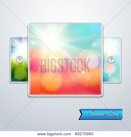 Set of bright shining sun with lens flare. Web slider stylizatio