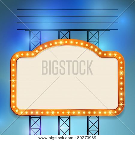 Retro Cinema Old Vintage Bulb Frame Sign
