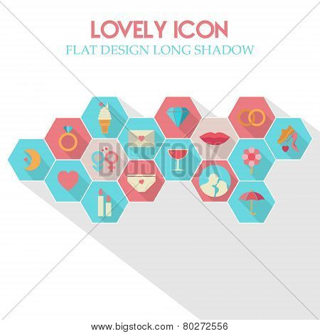 Lovely Icon Flat Design Long Shadow