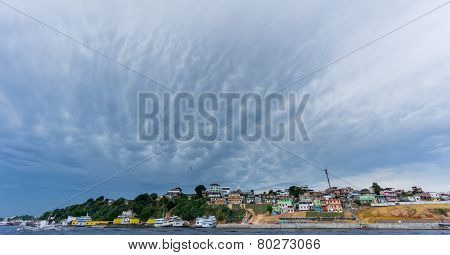 Ultra wide angle of Manaus with cloudy sky, Amazon