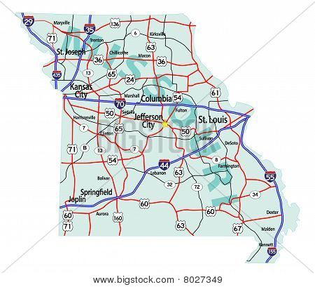 Missouri State Interstate Map