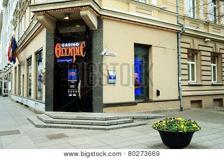 Vilnius City Centre Olympic Casino At Autumn Time