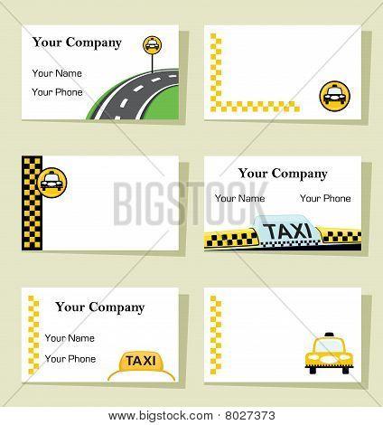 Vector Set von sechs Taxi-Visitenkarten