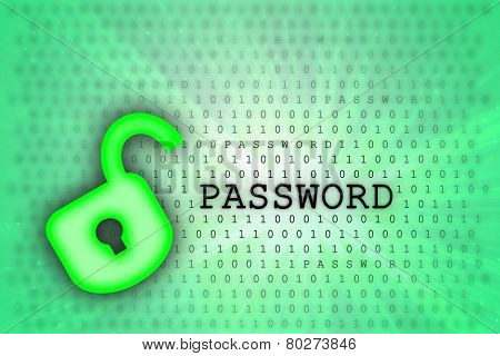 Abstract Background, Binary Code And Lock Icon