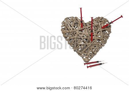 Heart made of wicker, broken heart, treatment of heart