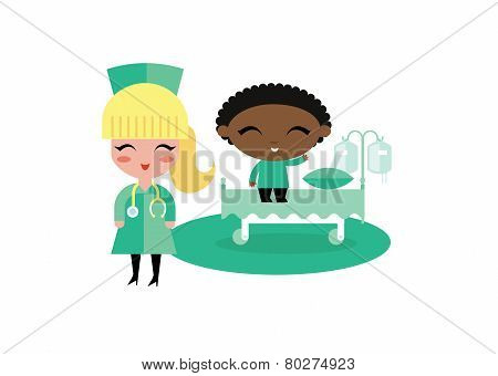 child kid hospital illustration