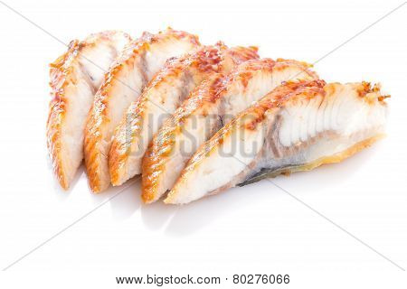 Sliced Eel Isolated On White Background